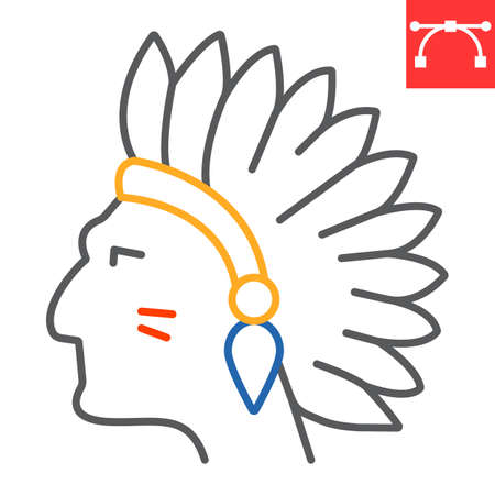 Injun color line icon, america and navajo, redskin sign vector graphics, editable stroke linear icon