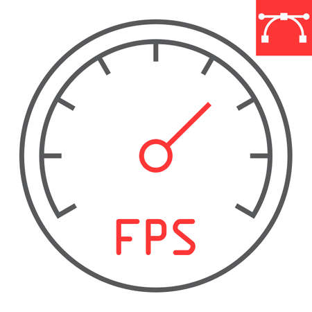 Frames Per Second color line icon, video games and fps, fps speedometer sign vector graphics, editable stroke linear icon