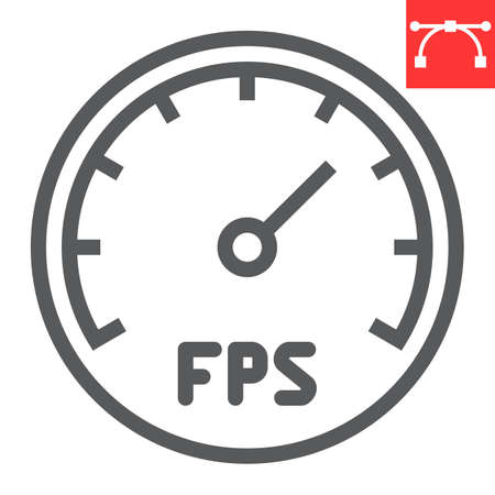 Frames Per Second line icon, video games and fps, fps speedometer sign vector graphics, editable stroke linear icon