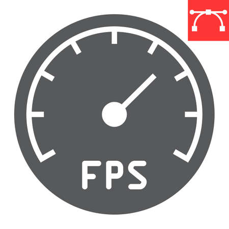 Frames Per Second glyph icon, video games and fps, fps speedometer sign vector graphics, editable stroke solid icon Stock Illustratie