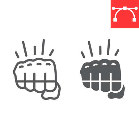 Fighting game line and glyph icon, video games and fight club, fist sign vector graphics, editable stroke linear icon