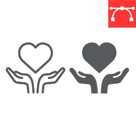 Heart in open hands line and glyph icon, and heart, free love sign vector graphics, editable stroke linear icon