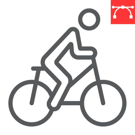 Cycling line icon, fitness and bicycle, bike sign vector graphics, editable stroke linear icon, eps 10. Ilustracja