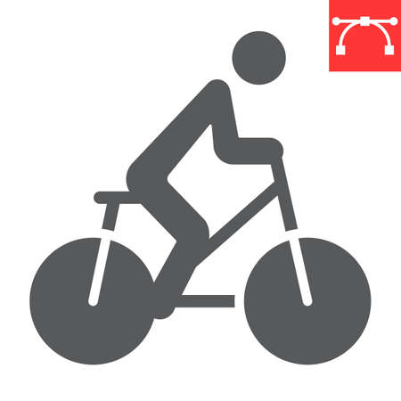 Cycling glyph icon, fitness and bicycle, bike sign vector graphics, editable stroke solid icon, eps 10.