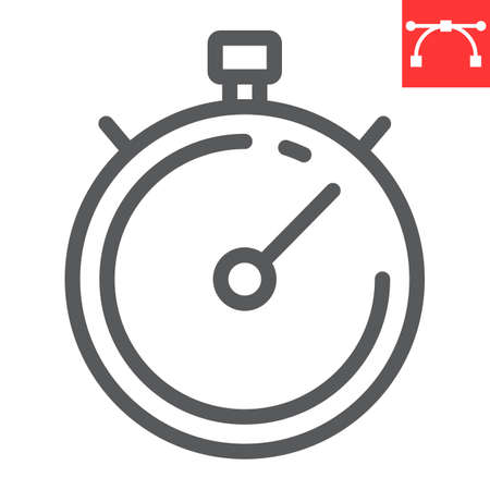 Stopwatch line icon, fitness and sport, timer sign vector graphics, editable stroke linear icon, eps 10.