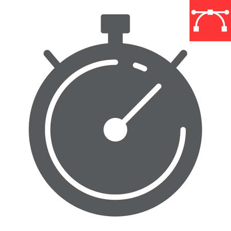 Stopwatch glyph icon, fitness and sport, timer sign vector graphics, editable stroke solid icon, eps 10. Ilustração