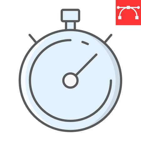 Stopwatch color line icon, fitness and sport, timer sign vector graphics, editable stroke colorful linear icon, eps 10.
