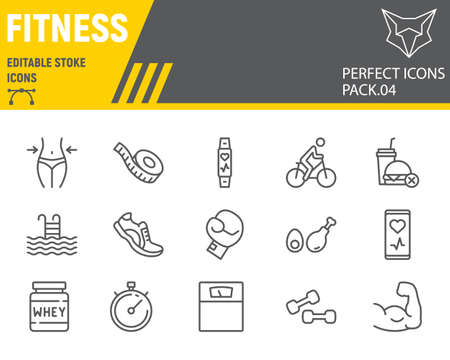 Fitness line icon set, sport symbols collection, vector sketches, logo illustrations, gym icons, fitness signs linear pictograms, editable stroke.