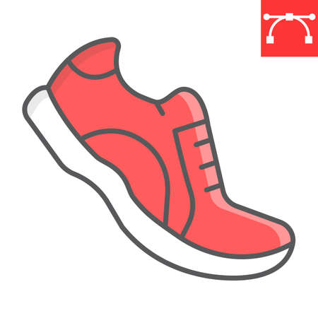 Running shoes color line icon, fitness and run, sport shoe sign vector graphics, editable stroke colorful linear icon, eps 10.