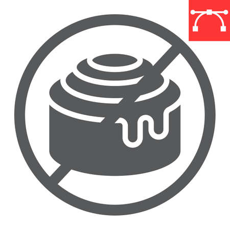 No sweet glyph icon, food and keto diet, cinnamon bun sign vector graphics, editable stroke solid icon
