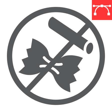 No pasta glyph icon, food and keto diet, pasta sign vector graphics, editable stroke solid icon 向量圖像