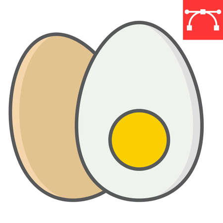 Boiled egg color line icon, fitness and keto diet, egg food sign vector graphics, editable stroke colorful linear icon