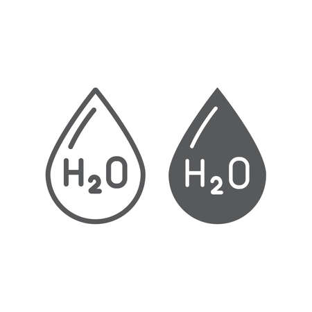 Water formula line and glyph icon, chemical and water, h2o drop sign, vector graphics, a linear pattern on a white background.