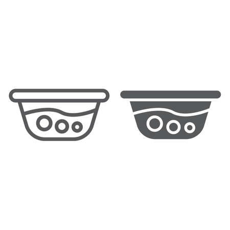 Basin with water line and glyph icon, laundry and wash, washbowl sign, vector graphics, a linear pattern on a white background.