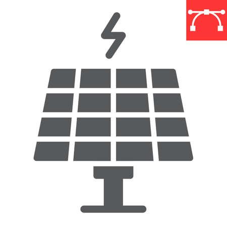 Solar panel glyph icon, energy and ecology, sun solar panel sign vector graphics, editable stroke solid icon Ilustração Vetorial