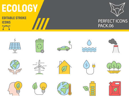 Ecology color line icon set, eco symbols collection, vector sketches, logo illustrations, environment icons, green ecology signs colorful linear pictograms, editable stroke.