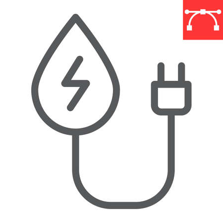 Hydropower line icon, energy and ecology, water energy sign vector graphics, editable stroke linear icon