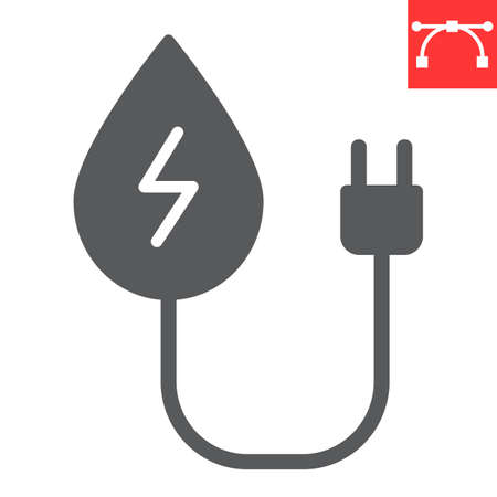 Hydropower glyph icon, energy and ecology, water energy sign vector graphics, editable stroke solid icon