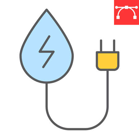 Hydropower color line icon, energy and ecology, water energy sign vector graphics, editable stroke colorful linear icon