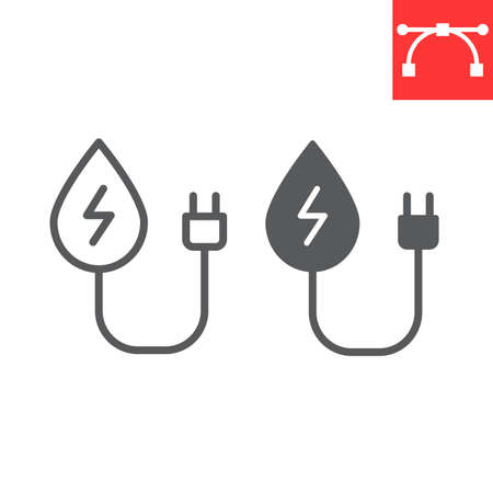 Hydropower line and glyph icon, energy and ecology, water energy sign vector graphics, editable stroke linear icon, eps 10