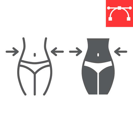 Weight loss line and glyph icon, fitness and diet, fit body sign vector graphics, editable stroke linear icon, eps 10 矢量图像