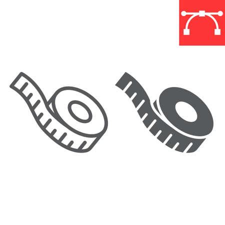 Measuring tape line and glyph icon, fitness and ruler, measurement tape sign vector graphics, editable stroke linear icon, eps 10