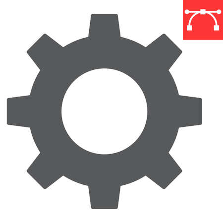 Settings glyph icon, ui and button, cogwheel sign vector graphics, editable stroke solid icon, eps 10 Vecteurs