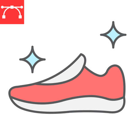 Shoe cleaning color line icon, dry cleaning and wash, run shoes sign graphics, editable stroke colorful linear icon Vector Illustration