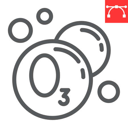 Ozonation laundry line icon, dry cleaning and wash, ozone sign graphics, editable stroke linear icon
