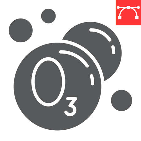 Ozonation laundry glyph icon, dry cleaning and wash, ozone sign graphics, editable stroke solid icob 矢量图像