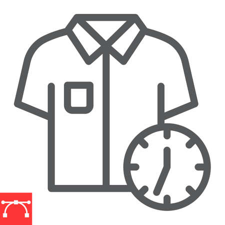 Express dry cleaning line icon, dry cleaning and wash, shirt with clock sign graphics, editable stroke linear icon
