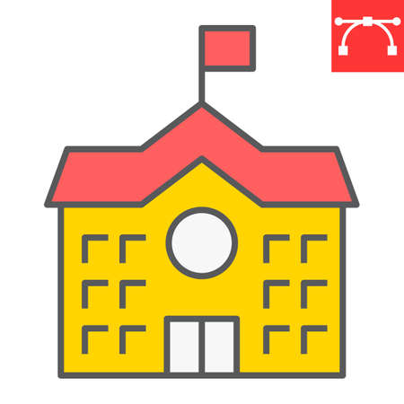School Building color line icon, school and education, house sign vector graphics, editable stroke colorful linear icon 向量圖像
