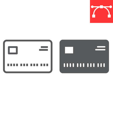 Credit card line and glyph icon, ui and button, buy sign vector graphics, editable stroke linear icon Vectores