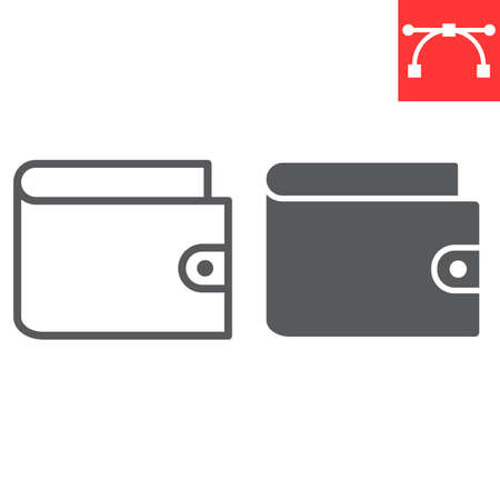 Wallet line and glyph icon, ui and button, pay sign vector graphics, editable stroke linear icon, Illusztráció