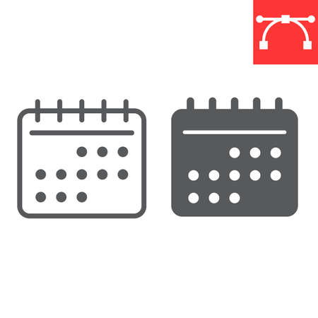 Calendar line and glyph icon, ui and button, reminder sign vector graphics, editable stroke linear icon
