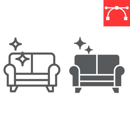 Furniture dry cleaning line and glyph icon, dry cleaning and laundry, sofa cleaning sign vector graphics, editable stroke linear icon