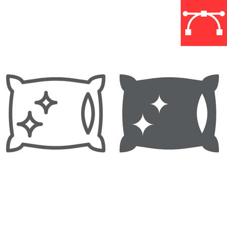 Pillow cleaning line and glyph icon, dry cleaning and laundry, pillow sign vector graphics, editable stroke linear icon Illusztráció
