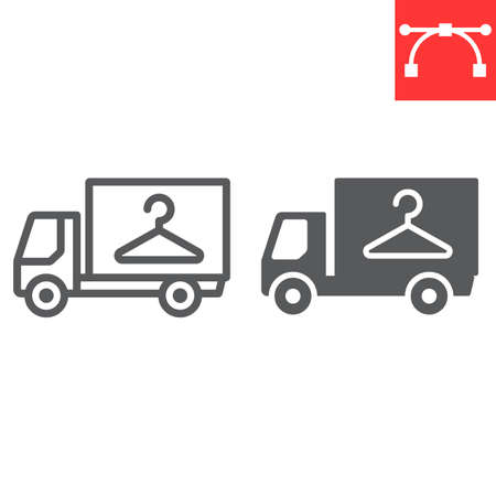 Laundry service delivery line and glyph icon, dry cleaning and vehicle, truck sign vector graphics, editable stroke linear icon Illusztráció