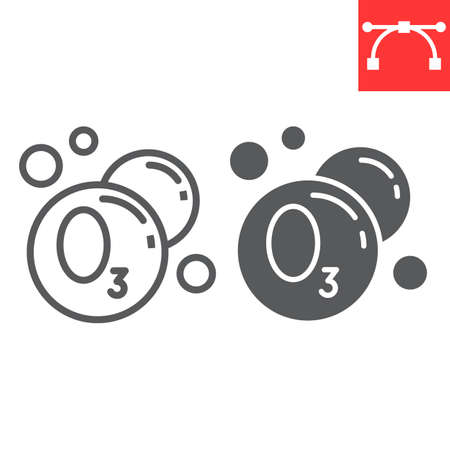 Ozonation laundry line and glyph icon, dry cleaning and wash, ozone sign vector graphics, editable stroke linear icon