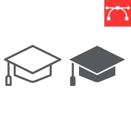 Graduation cap line and glyph icon, school and education, graduate sign vector graphics, editable stroke linear icon