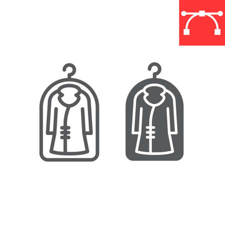 Cover fot clothes line and glyph icon, dry cleaning and wash, coat sign vector graphics, editable stroke linear icon