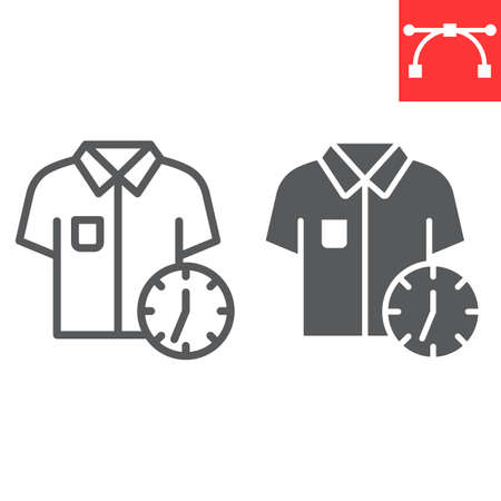 Express dry cleaning line and glyph icon, dry cleaning and wash, shirt with clock sign vector graphics, editable stroke linear icon