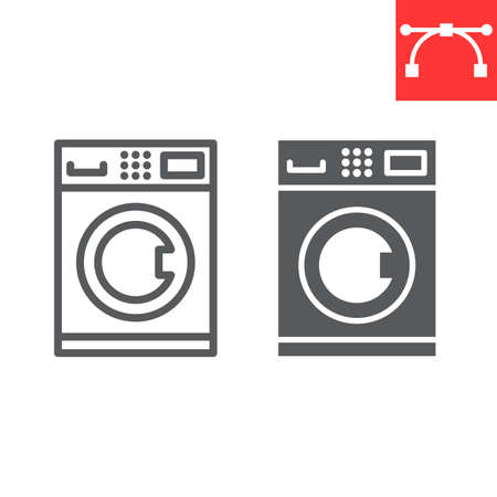 Self service laundry line and glyph icon, dry cleaning and wash, washing machine sign vector graphics, editable stroke linear icon