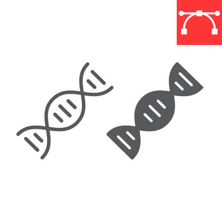 DNA line and glyph icon, school and education, biology sign vector graphics, editable stroke linear icon