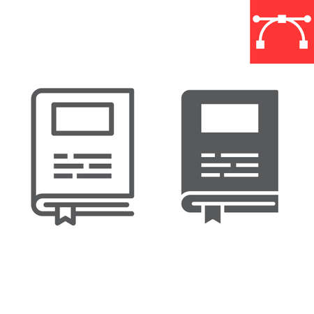 Book line and glyph icon, school and education, book sign vector graphics, editable stroke linear icon