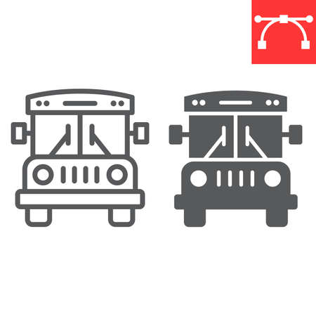 School bus line and glyph icon, school and education, bus sign vector graphics, editable stroke linear icon
