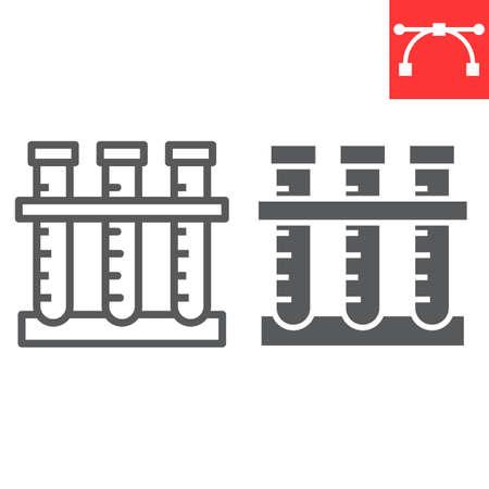 Chemistry line and glyph icon, school and education, test tubes sign vector graphics, editable stroke linear icon Illusztráció