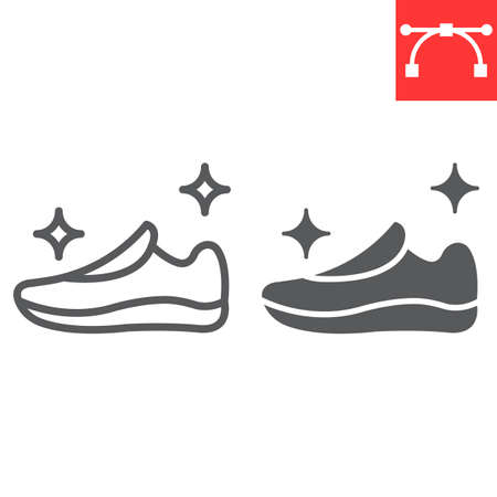 Shoe cleaning line and glyph icon, dry cleaning and wash, run shoes sign vector graphics, editable stroke linear icon