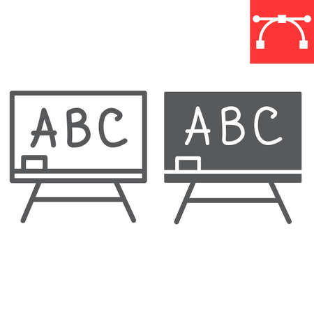 Blackboard line and glyph icon, school and education, classroom sign vector graphics, editable stroke linear icon