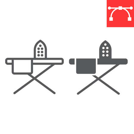 Ironing line and glyph icon, steam and laundry, iron sign vector graphics, editable stroke linear icon Illusztráció